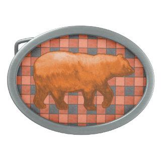 Orange Black Plaid Check Belt Buckle Orange Bear