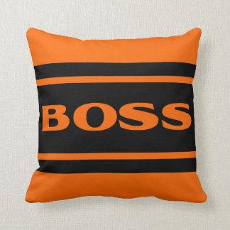 Orange Black Race Stripes Muscle Car Throw Pillow