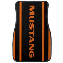 Orange Black Racing Stripes Mustang Floor Mats
