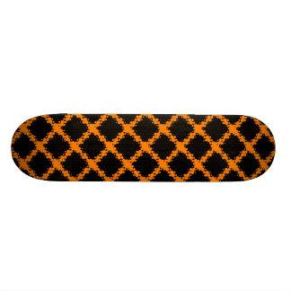 Orange, Black Retro Circles and Dots Pattern Skateboard