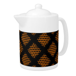 Orange, Black Retro Criss Cross Lines Dots Teapot