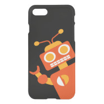 Orange & Black Robot Funny Silly Modern Geeky iPhone 7 Case