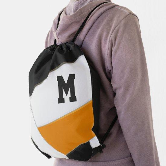 orange black school spirit boys girls volleyball drawstring bag