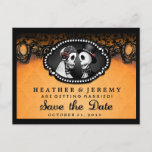 🎃  Orange Black Skeleton  Halloween Date PostCard