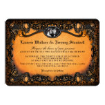Orange Black Skeletons Halloween Wedding RECEPTION Invitation (Visit shop for more wedding invites in this theme)