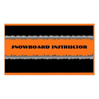 Orange black snowboard instructor custom cards business card