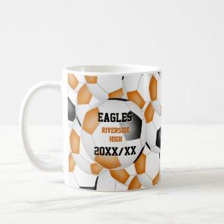 orange black soccer school team colors coach gift coffee mug