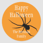Orange black spider halloween custom name gift tag stickers