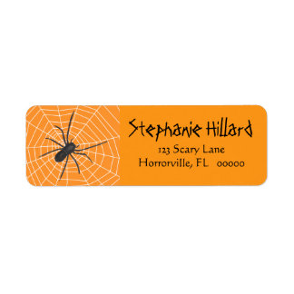 Orange/Black Spider Halloween Label