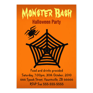 "Orange Black Spider Web Halloween Party 5"" x 7"" Card"