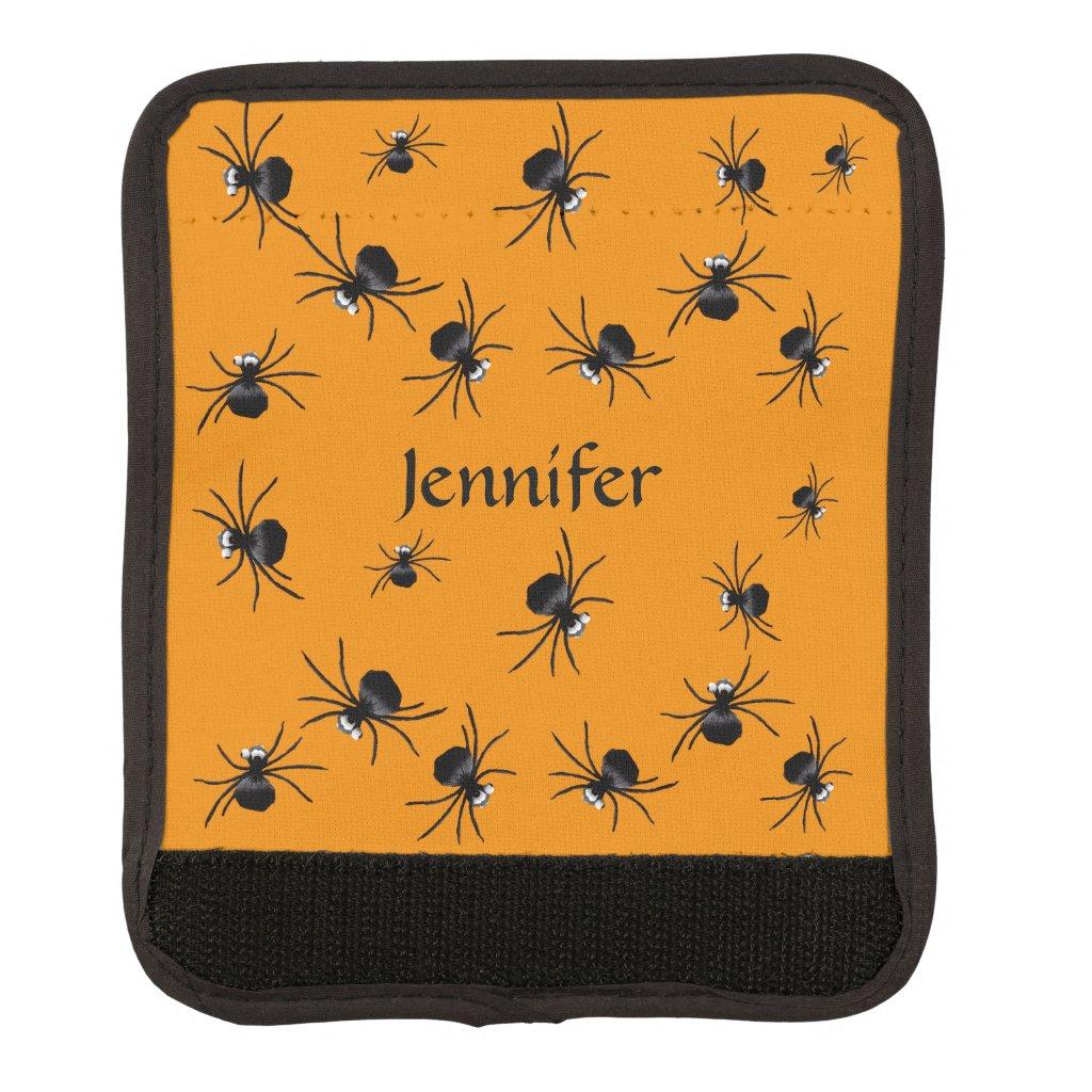 Orange Black Spiders Luggage Handle Wrap
