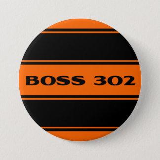 Orange Black Stripe Muscle Car Boss 302 Button
