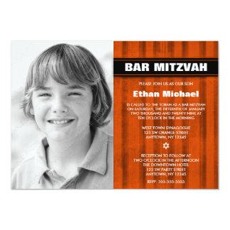 Orange Black Stripes Photo Bar Mitzvah Invitations
