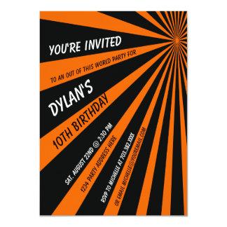 Orange Black Sun Beams Birthday Party Invitation