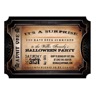 Halloween Themed Orange & Black Surprise Halloween Party Ticket Card