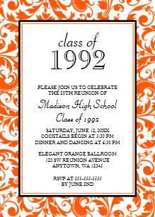 Orange Black Swirl Damask Cl Reunion Invitation