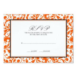 Orange Black Swirl Damask Wedding Response Card
