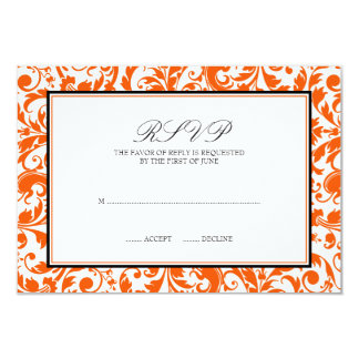 "Orange Black Swirl Damask Wedding Response Card 3.5"" X 5"" Invitation Card"