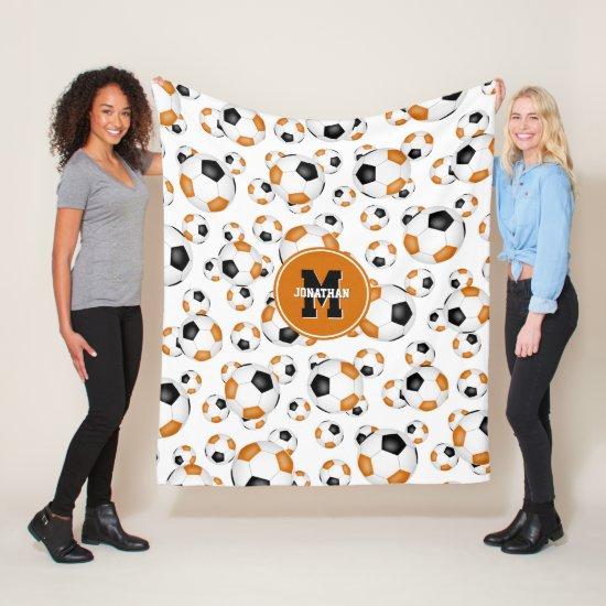 orange black team colors boys girls soccer fleece blanket