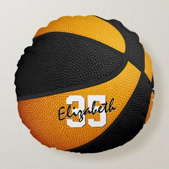 orange black team colors girl boy basketball decor round pillow