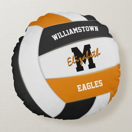 orange black team colors kids volleyball room round pillow