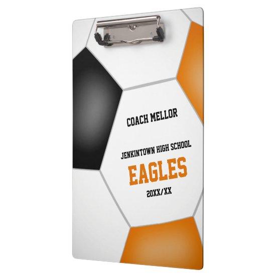 orange black team colors personalized soccer coach clipboard