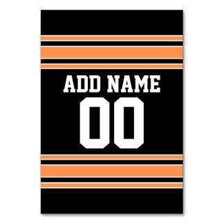 Orange Black Team Jersey Custom Name Number Table Cards