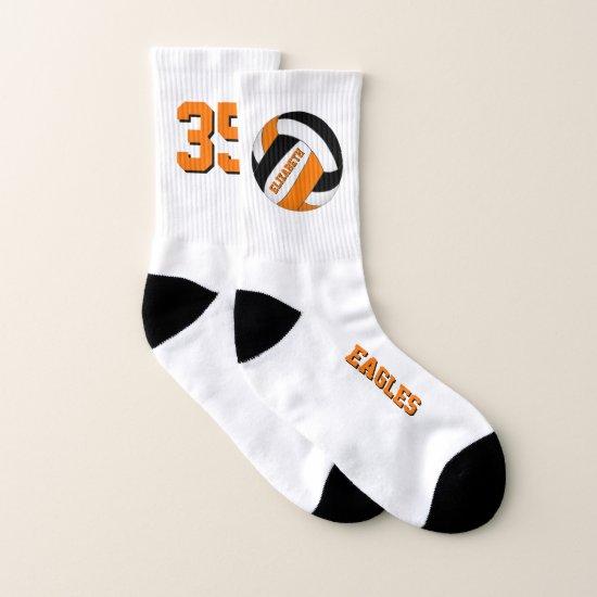 orange black team spirit novelty girls volleyball socks