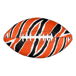 Orange & Black Tiger Strip Design Football