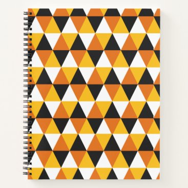 Beach Themed Orange & Black Triangle Pattern Spiral Notebook