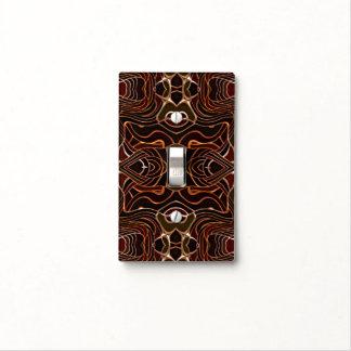 Orange Black Vintage Retro Nouveau Deco Pattern Light Switch Cover