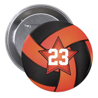 Orange & Black Volleyball Star Players Pinback Button