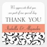 Orange, Black Wedding Favor Thank You Message Sticker