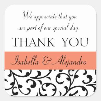 Orange, Black Wedding Favor Thank You Message Square Sticker