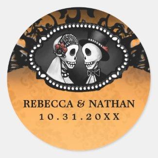 Orange & Black Wedding Skeletons Envelope Label