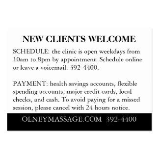 Orange, Black, White for Massage and Esthetics Large Business Cards (Pack Of 100)