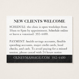 Orange, Black, White for Massage and Esthetics Business Card