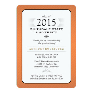 "Orange Black & White Formal Graduation Invitation 5"" X 7"" Invitation Card"