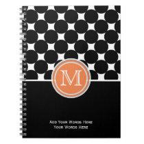 Orange Black White Monogram Notebook