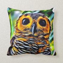 Orange Black White Owl Bird Green Foliage Throw Pillow