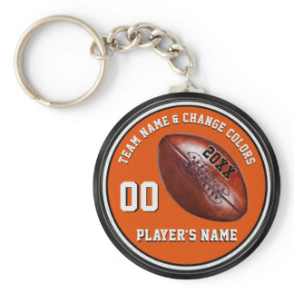 Orange, Black, White Personalized Football Gifts Keychain