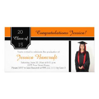 Orange Black White Photo Graduation Invitation Photo Card