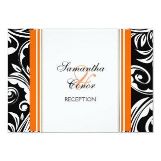 Orange black white wedding engagement 5x7 paper invitation card