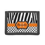 Orange Black White Zebra Striped Tri-Fold Wallet