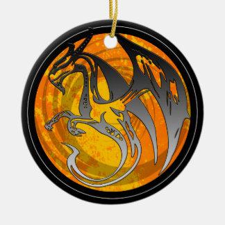 Orange black wing grunge dragon round ornament