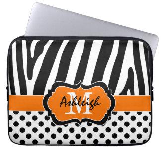 Orange Black Zebra Stripes Polka Dots Laptop Case