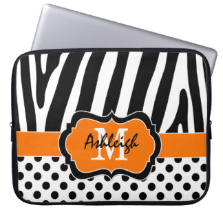 Orange Black Zebra Stripes Polka Dots Laptop Case Laptop Computer Sleeves