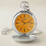 [ Thumbnail: Orange Blob Or Splotch Pattern Pocket Watch ]
