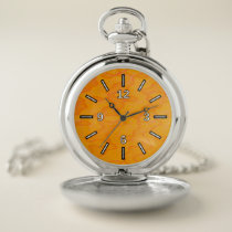 Orange Blob or Splotch Pattern Pocket Watch