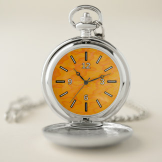 Orange Blob or Splotch Pattern Pocket Watch